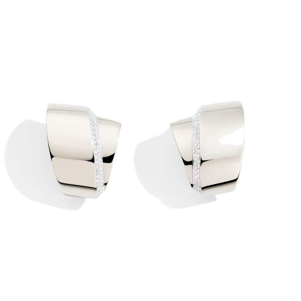 18k White Gold and Diamond Tourbillon Earrings
