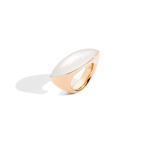 Closeup photo of 18k Rose Gold and Mother of Pearl Feseau Ring