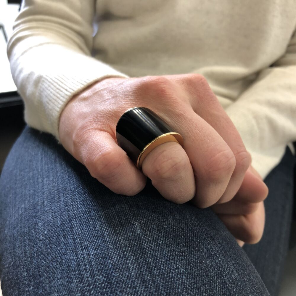 Image 2 for 18k Rose Gold and Ebony Vague Ring Gran