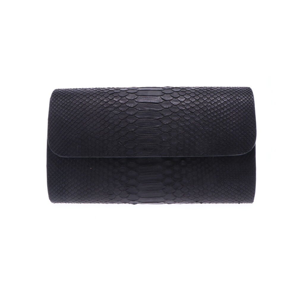 Black Python Wide Chain Bag
