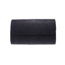 Closeup photo of Black Python Wide Chain Bag