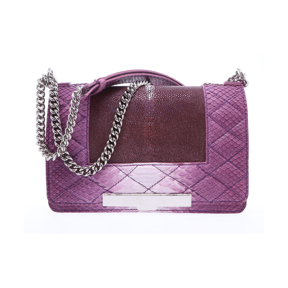 Image 2 for Ombre Purple Stingray and Python Chain Bag