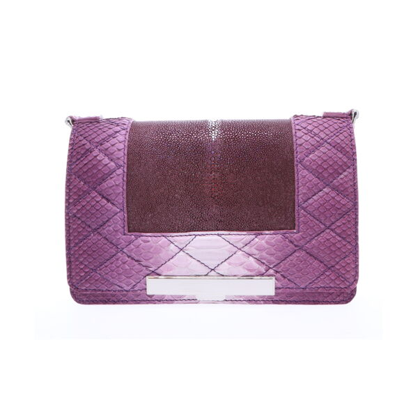 Closeup photo of Ombre Purple Stingray and Python Chain Bag