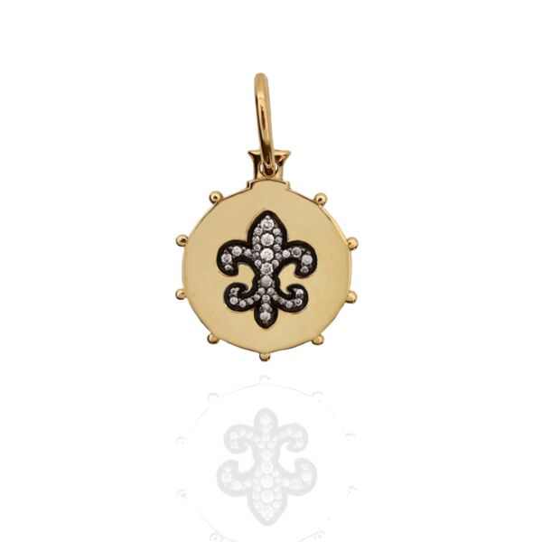 Closeup photo of Fleur De lis Black Rhoidum Pendant