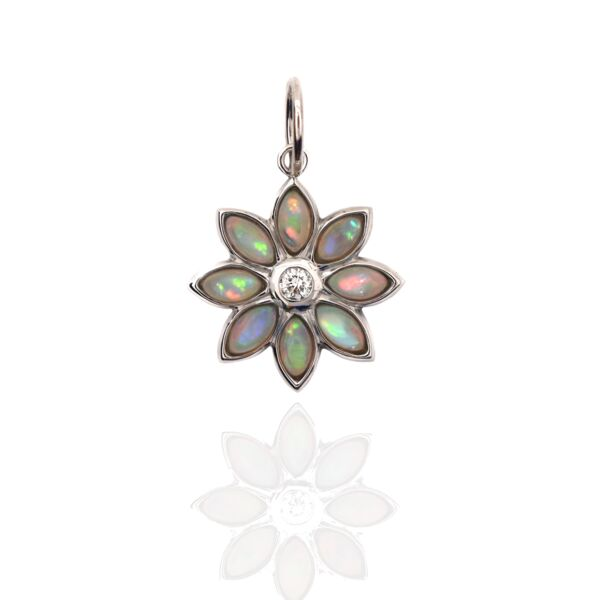 Closeup photo of Dahlia Pendant Opal 18k