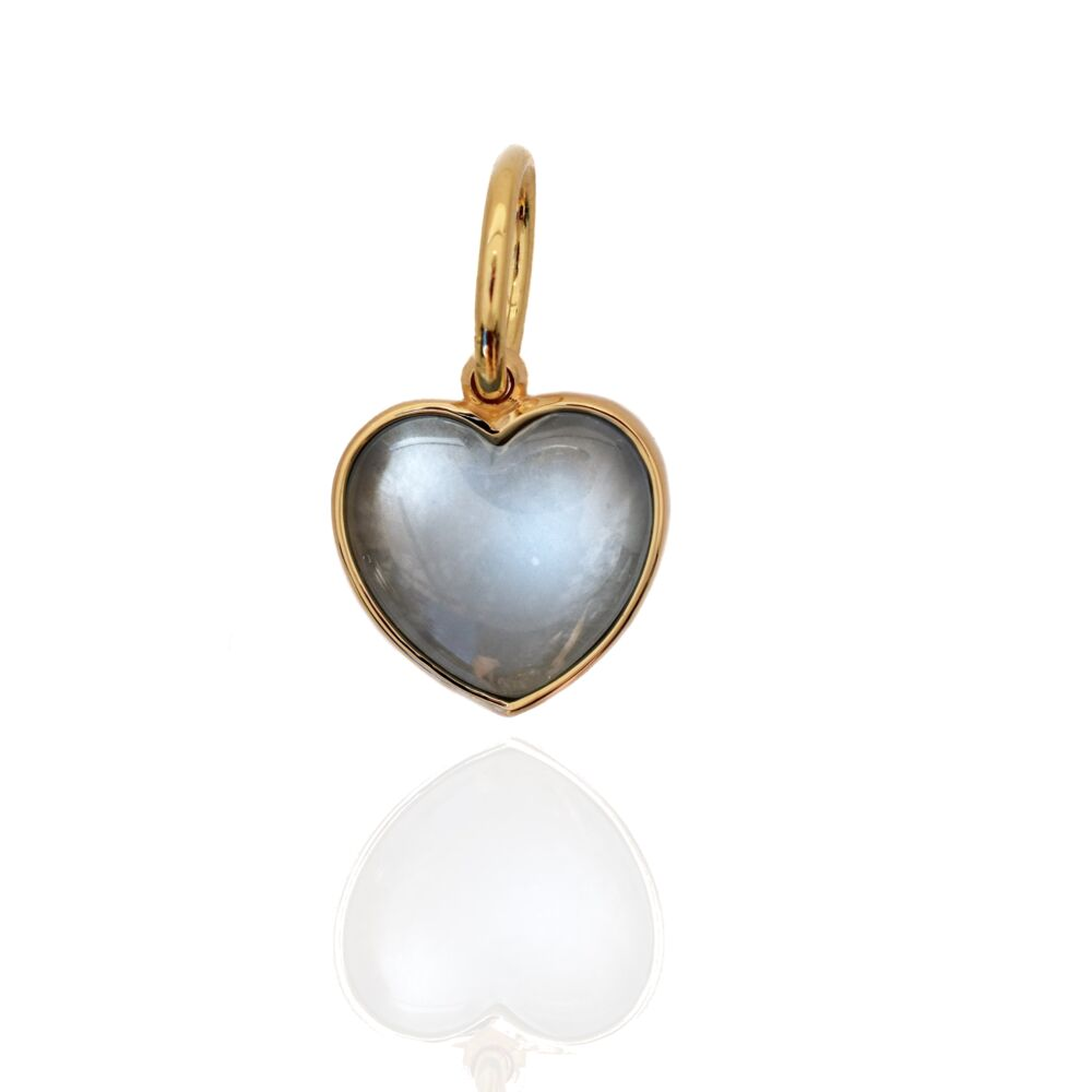 Heart Pendant Open Back Aquamarine