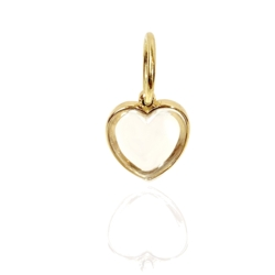 Closeup photo of Heart Pendant Open Back Rock Crystal 18k