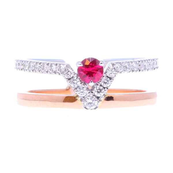 Closeup photo of Ruby V Double Band Ring