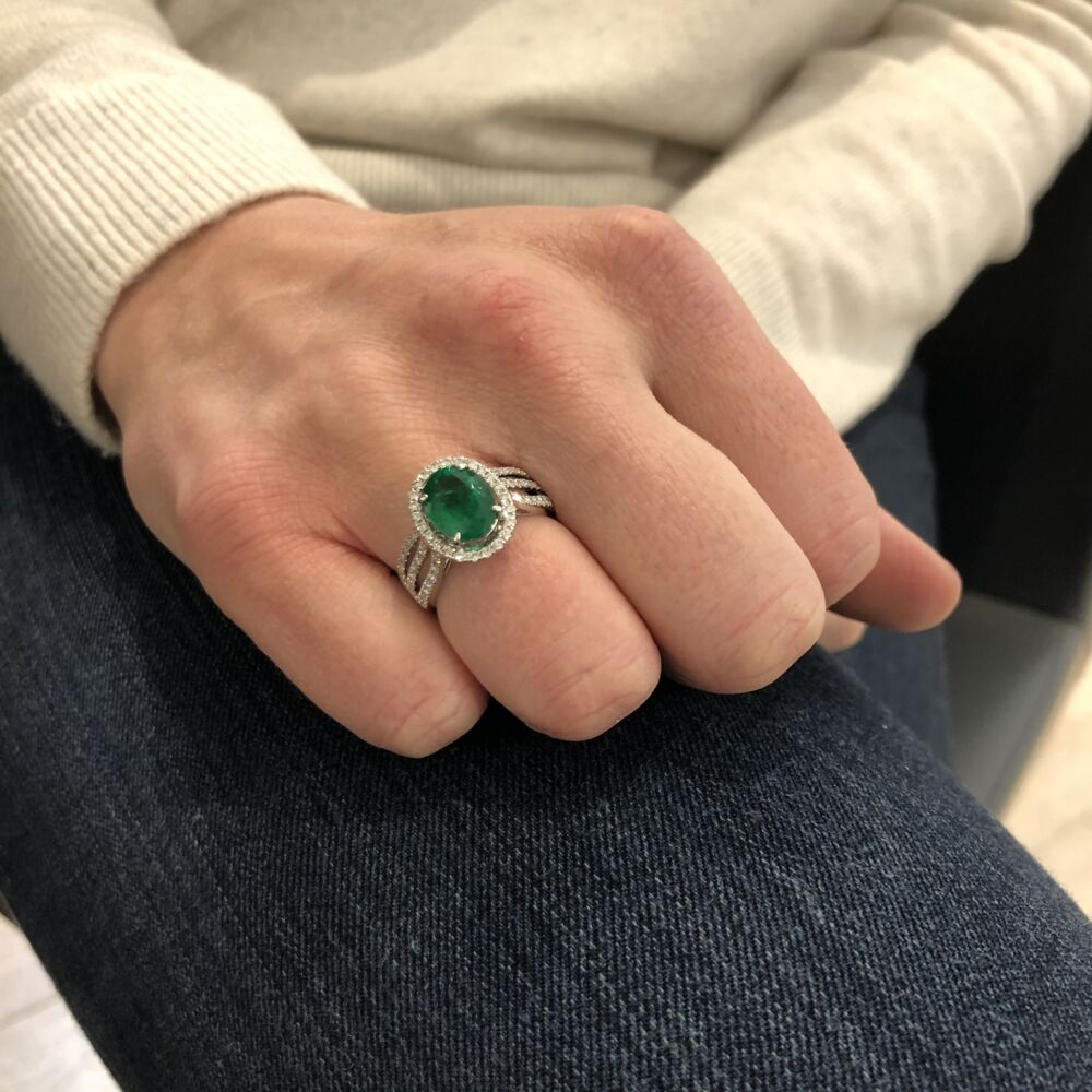 Image 2 for Oval Zambian Emerald Halo Set Ring
