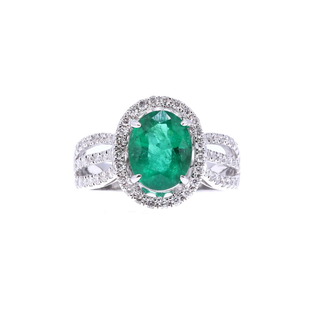 Oval Zambian Emerald Halo Set Ring