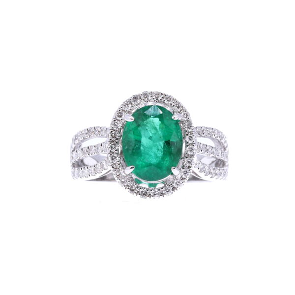 Closeup photo of Oval Zambian Emerald Halo Set Ring