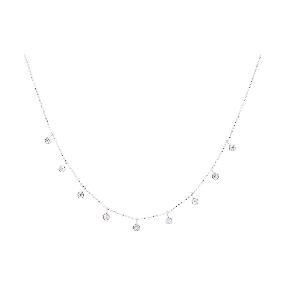 9 Stone Cleopatra Style Diamonds By the Yards Necklace