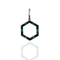 Closeup photo of Deco Hexa in Emerald, Onyx, and Sapphire