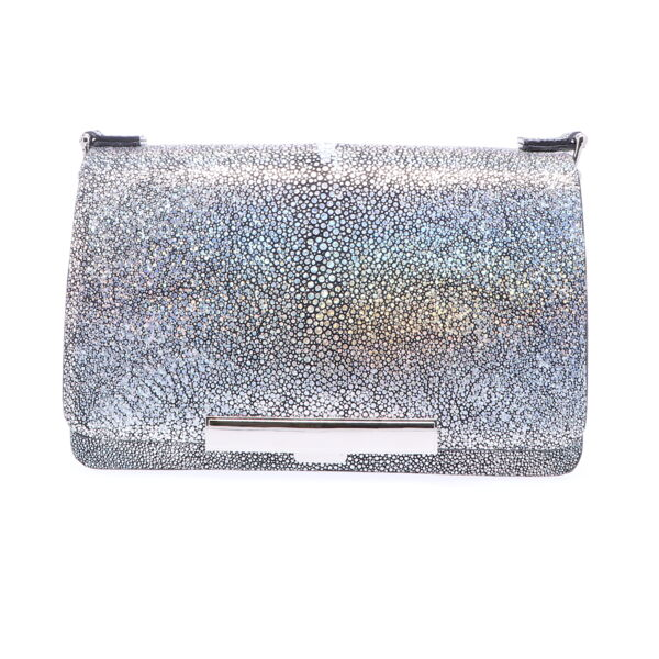 Closeup photo of Metallic Silver Stingray Chain Bag