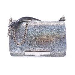 Closeup photo of Metallic Silver Stingray Chain Bag