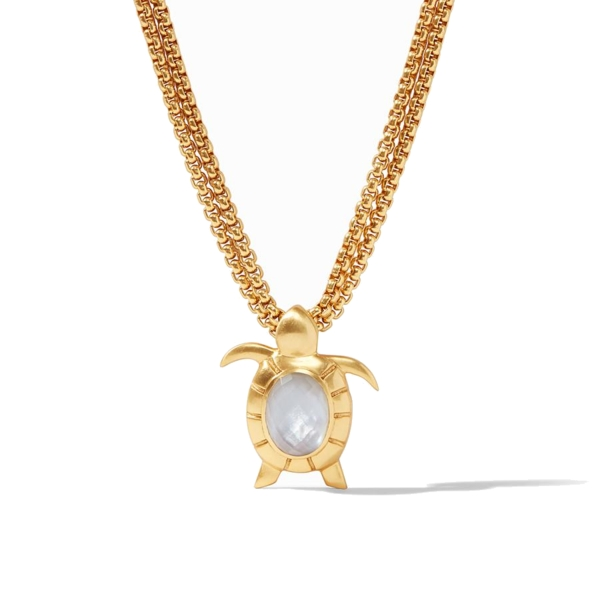Closeup photo of Turtle Statement Necklace Gold Iridescent Chalcedony Blue