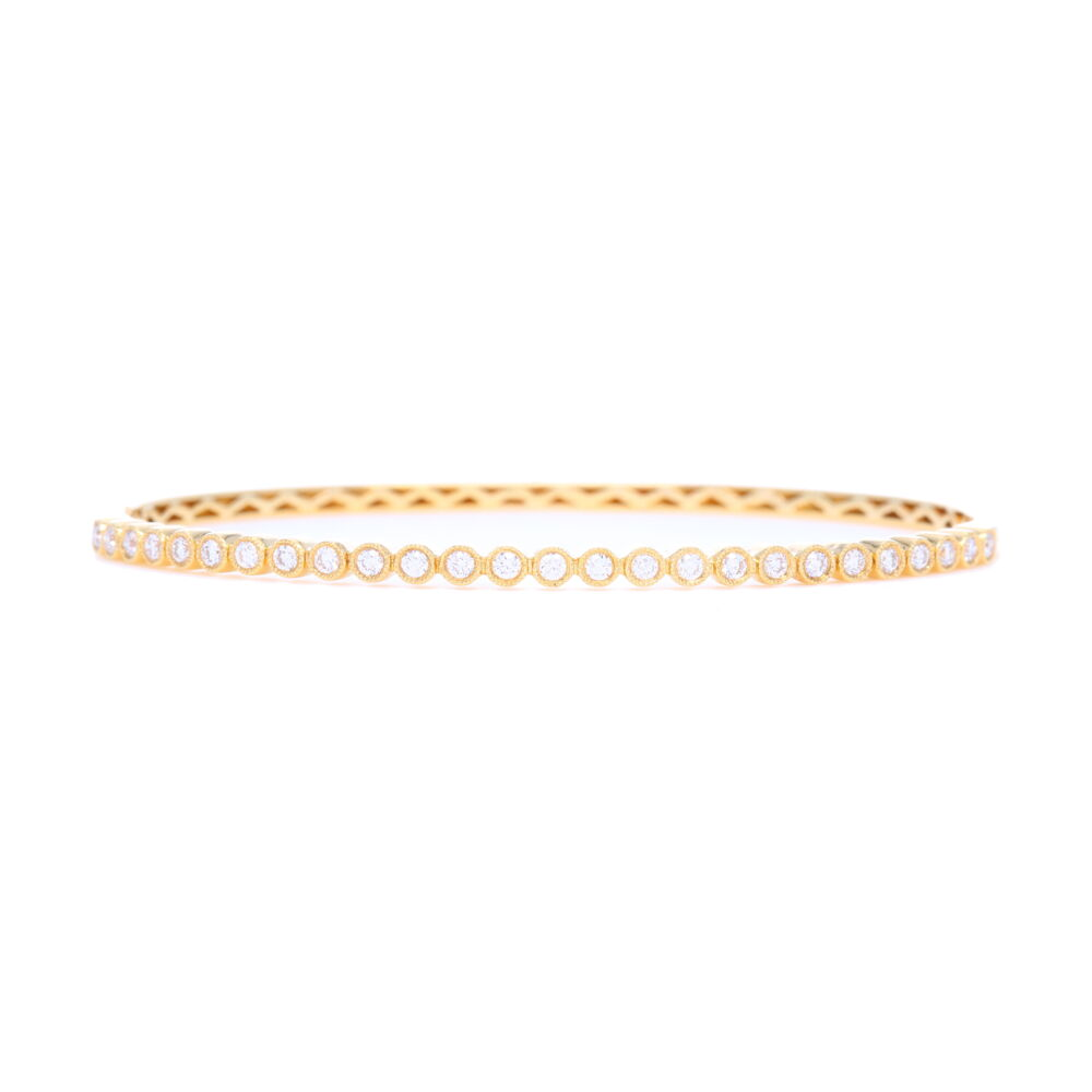 18k Yellow Gold Diamond Bezel Set Bangle