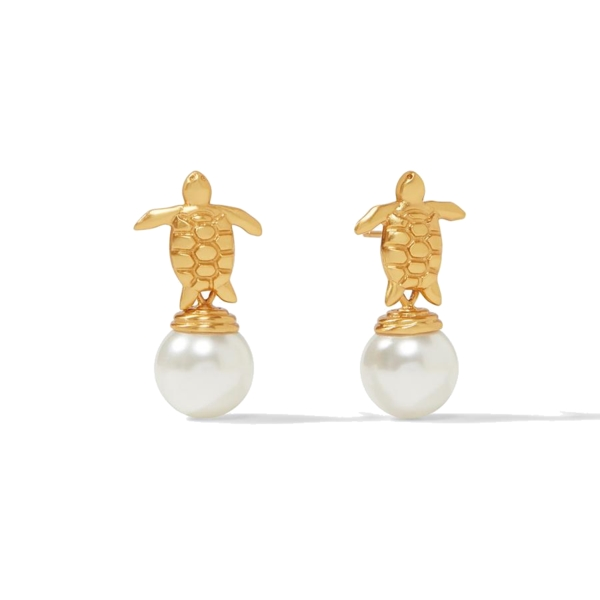 Closeup photo of Turtle Pearl Drop Earring Gold Top