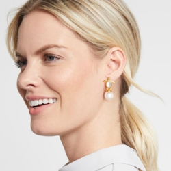 Closeup photo of Turtle Pearl Drop Earring