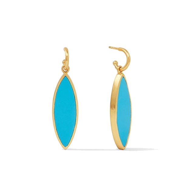 Closeup photo of Venus Statement Earring Gold Pacific Blue