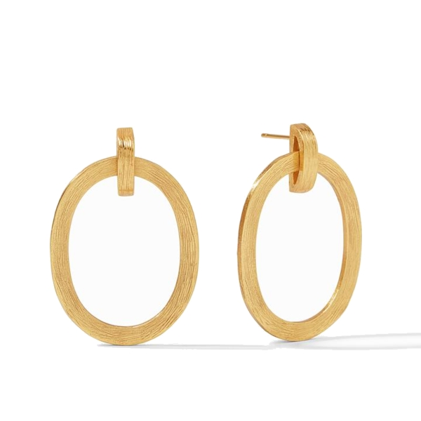Closeup photo of Aspen Doorknocker Earring Gold