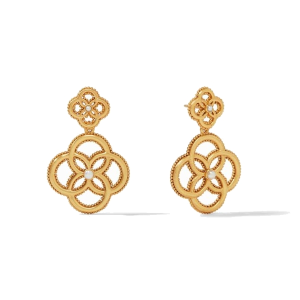 Closeup photo of Chloe Fleur Earring Gold Pearl