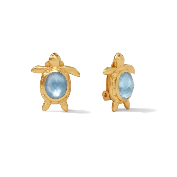 Closeup photo of Turtle Clip-On Gold Iridescent Chalcedony Blue
