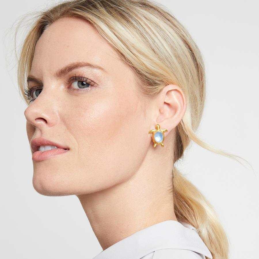 Image 2 for Turtle Gemstone Stud Earring