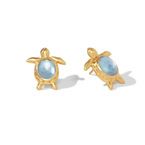Closeup photo of Turtle Earring Gold Iridescent Chalcedony Blue
