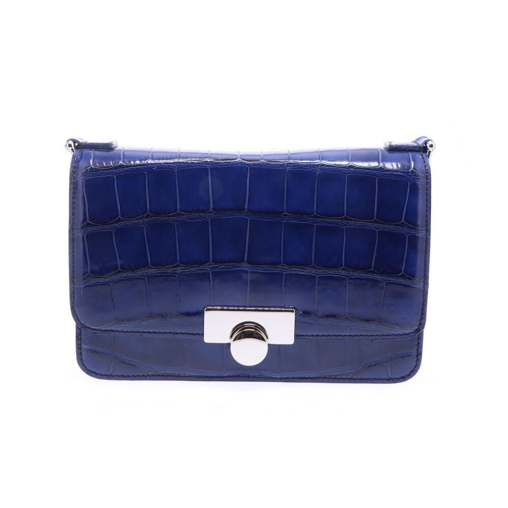 Sapphire Blue Alligator Chain Bag