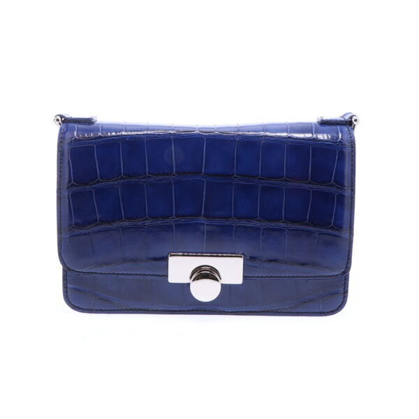 Closeup photo of Sapphire Blue Alligator Chain Bag