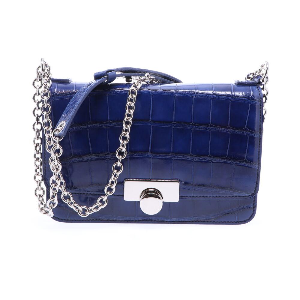 Image 2 for Sapphire Blue Alligator Chain Bag