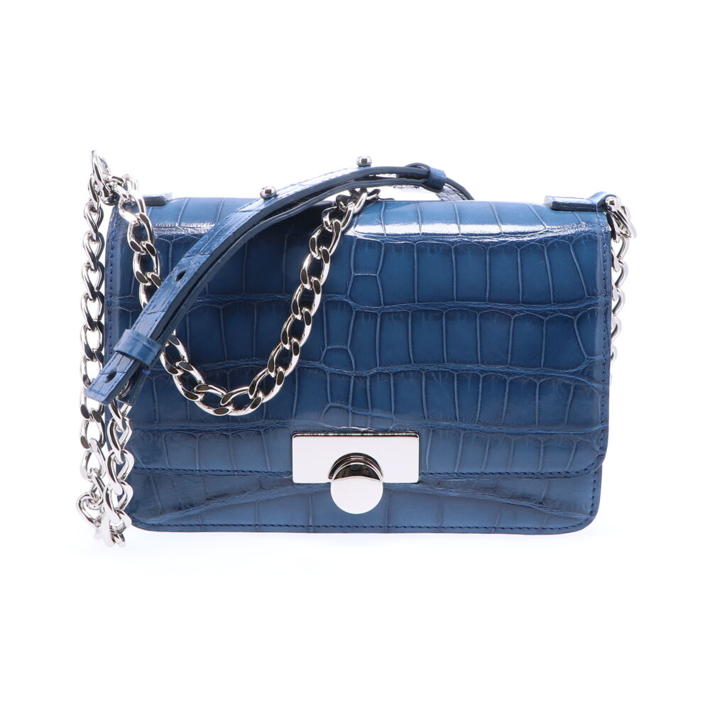 Image 2 for Royal Blue Alligator Chain Purse