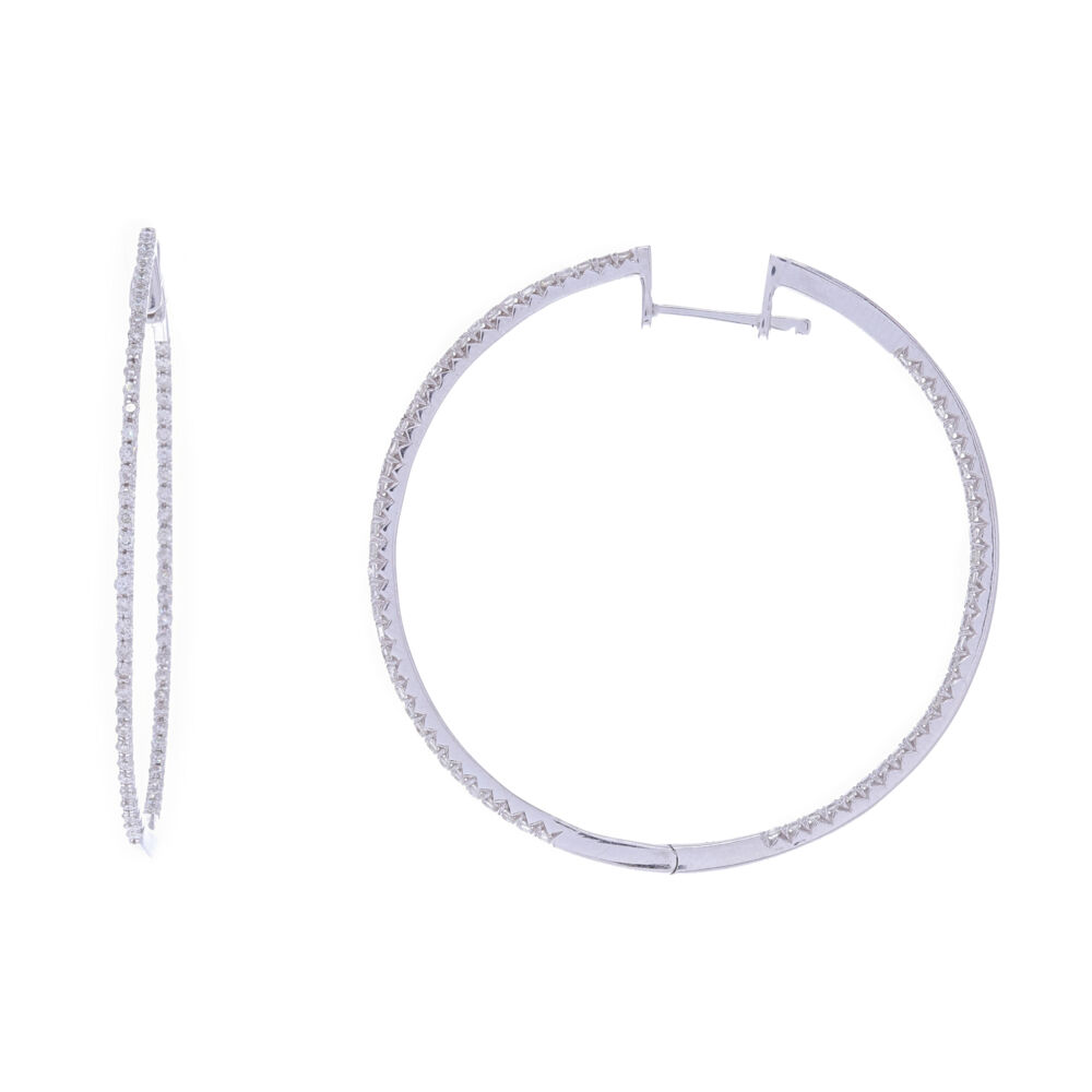 14k White Gold Round Diamond Thin Hoops