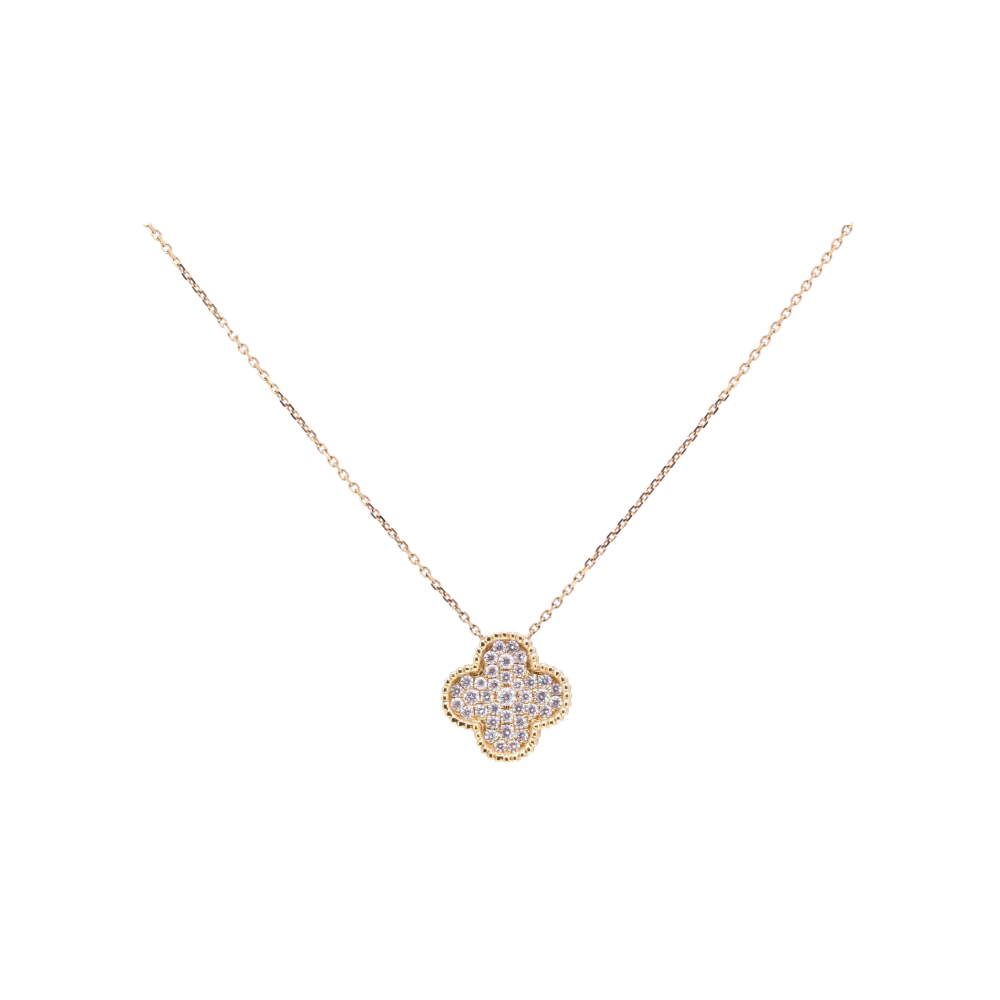 18k Clover Pendant Necklace with Diamonds