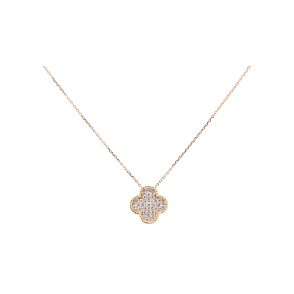 Closeup photo of 18k Clover Pendant Necklace with Diamonds