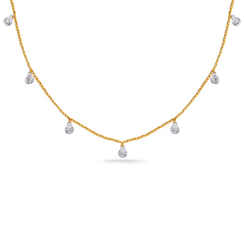 Closeup photo of 14k Yellow Gold Dangling Diamond Necklace
