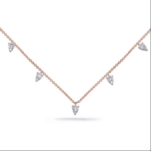 Closeup photo of 14k Rose Gold Dangling Diamond Necklace
