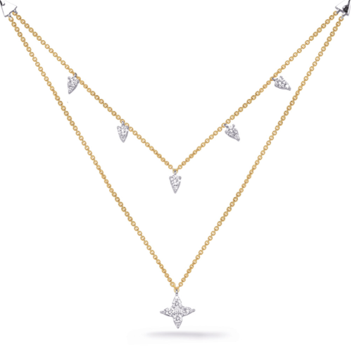 Closeup photo of 14k Yellow Gold Double Layer Star Necklace