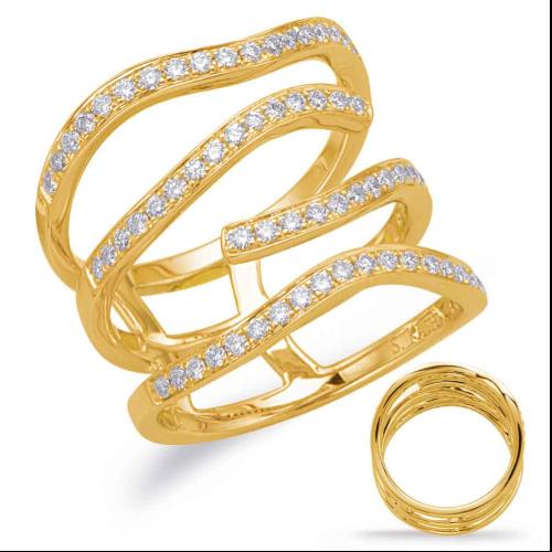 Closeup photo of 14k Yellow Gold Diamond Stacked Ring
