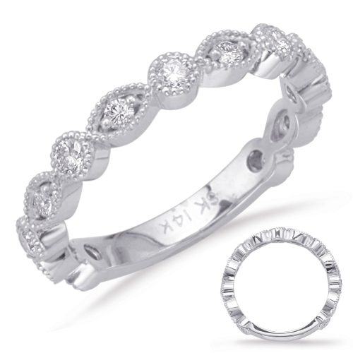 Closeup photo of 14k White Gold Diamond Stack Band