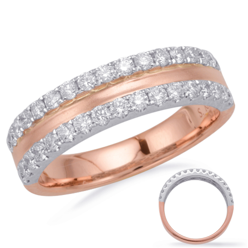 Closeup photo of 14k Brushed Rose Gold Double Diamond Band