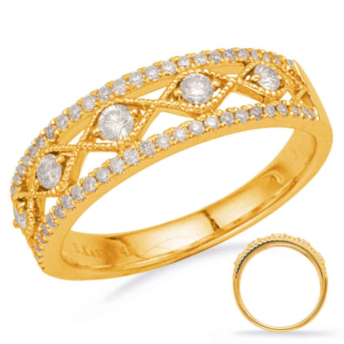 Closeup photo of 14k Yellow Gold Diamond Stack Band