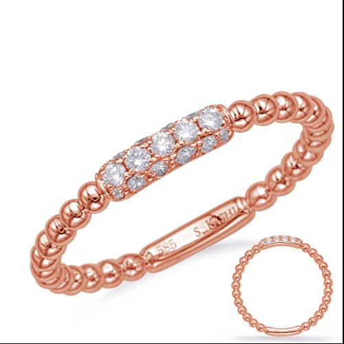 14k Rose Gold Ball Diamond Ring