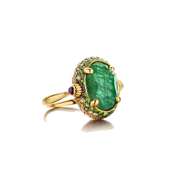 Closeup photo of Dancing Reverse Ring - Green/Pink