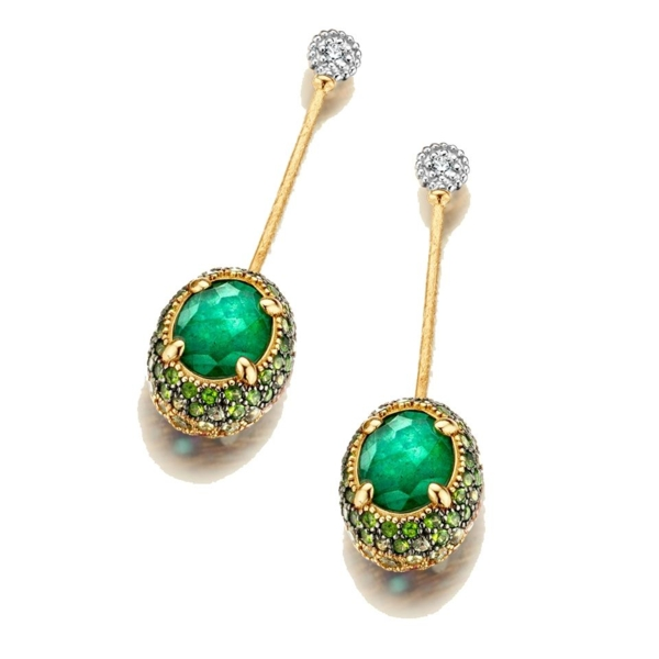 Closeup photo of Dancing Reverse Earrings - Green/Pink