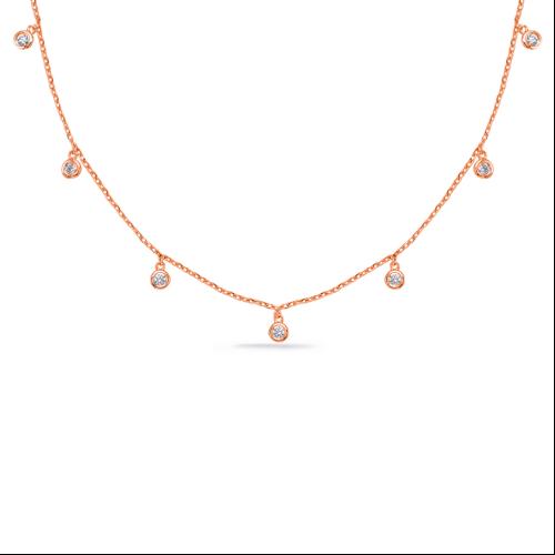 14k Rose Gold Dangling Diamonds Necklace