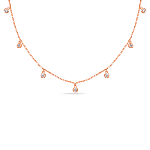 Closeup photo of 14k Rose Gold Dangling Diamonds Necklace