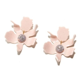 Closeup photo of Dusty Pink Crystal Lily Earrings
