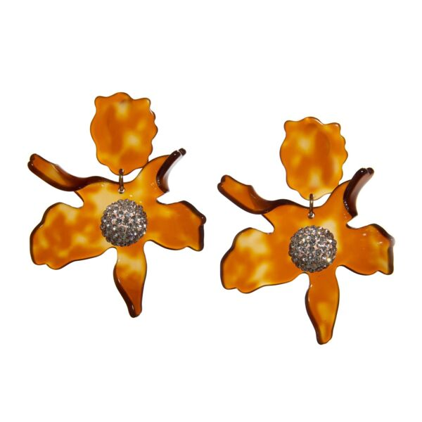 Closeup photo of Caramel Crystal Lily Earrings